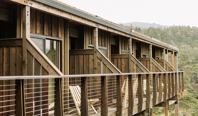 Timber Cove Resort Exterior Balconies in Jenner